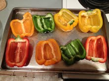halved pepper on pan